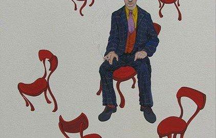 در تابلوی «کافه نادری» صادق هدایت روی یک صندلی نشسته است و ...
